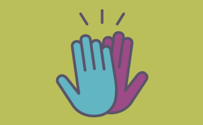 A graphic of two illustrated hands, one blue and one purple, both with a dark grey outline, high fiving with three short, vertical-ish lines coming off the top of them to illustrate a high-five.